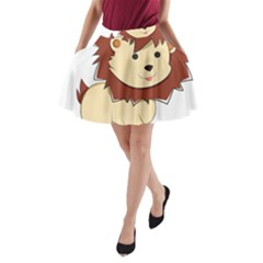 Happy Cartoon Baby Lion A Line Pocket Skirt by Catifornia
