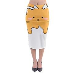 Yellow Cat Egg Midi Pencil Skirt by Catifornia