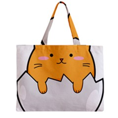 Yellow Cat Egg Medium Zipper Tote Bag by Catifornia
