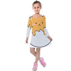 Yellow Cat Egg Kids  Long Sleeve Velvet Dress
