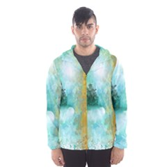 Turquoise River Hooded Wind Breaker (men) by theunrulyartist