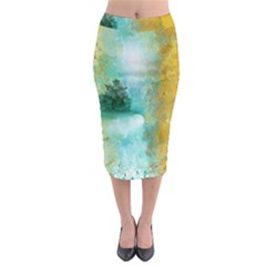 Turquoise River Midi Pencil Skirt by theunrulyartist