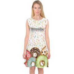 Colorful Sprinkle Donuts Capsleeve Midi Dress by PattyVilleDesigns