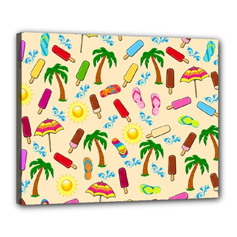 Beach Pattern Canvas 20  X 16  by Valentinaart