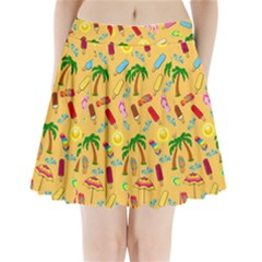 Beach Pattern Pleated Mini Skirt by Valentinaart