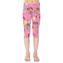 Beach Pattern Kids  Capri Leggings  by Valentinaart