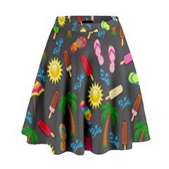 Beach Pattern High Waist Skirt by Valentinaart
