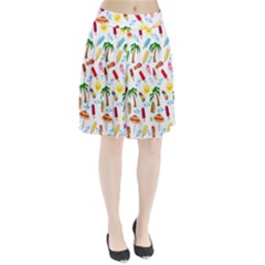Beach Pattern Pleated Skirt by Valentinaart
