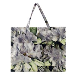 Elegant Flowers A Zipper Large Tote Bag by MoreColorsinLife