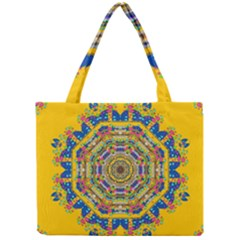 Happy Fantasy Earth Mandala Mini Tote Bag by pepitasart