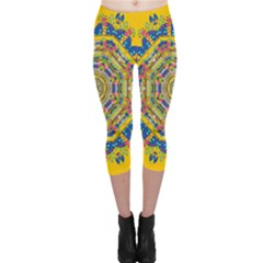 Happy Fantasy Earth Mandala Capri Leggings  by pepitasart