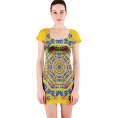 Happy Fantasy Earth Mandala Short Sleeve Bodycon Dress by pepitasart