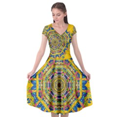 Happy Fantasy Earth Mandala Cap Sleeve Wrap Front Dress by pepitasart