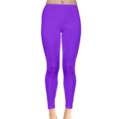 Neon Purple Solid Color  Leggings  by SimplyColor