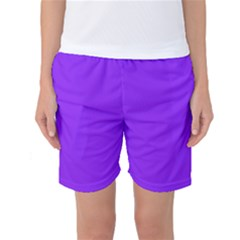 Neon Purple Solid Color  Women s Basketball Shorts by SimplyColor