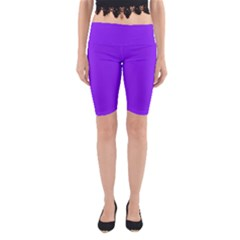 Neon Purple Solid Color  Yoga Cropped Leggings by SimplyColor