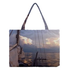 Sailing Into The Storm Medium Tote Bag by oddzodd