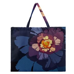 Flower Zipper Large Tote Bag by oddzodd