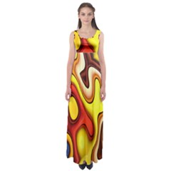 Colorful 3d Shapes                Empire Waist Maxi Dress by LalyLauraFLM