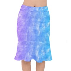 Blue Purple Watercolors                         Short Mermaid Skirt by LalyLauraFLM