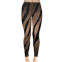 Skin3 Black Marble & Bronze Metal (r) Leggings  by trendistuff
