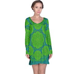 Summer And Festive Touch Of Peace And Fantasy Long Sleeve Nightdress by pepitasart
