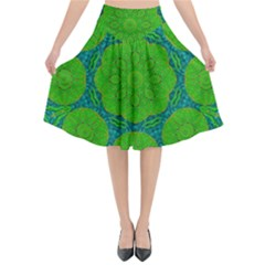 Summer And Festive Touch Of Peace And Fantasy Flared Midi Skirt
