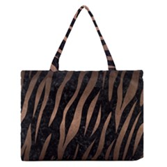 Skin2 Black Marble & Bronze Metal Medium Zipper Tote Bag by trendistuff