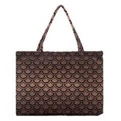 Scales2 Black Marble & Bronze Metal (r) Medium Tote Bag by trendistuff