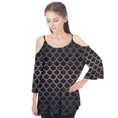 Scales1 Black Marble & Bronze Metal Flutter Sleeve Tee
