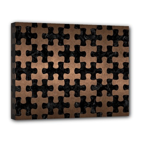 Puzzle1 Black Marble & Bronze Metal Canvas 14  X 11  (stretched) by trendistuff