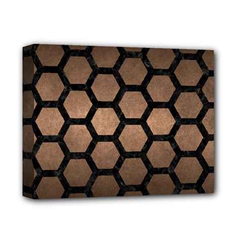 Hexagon2 Black Marble & Bronze Metal (r) Deluxe Canvas 14  X 11  (stretched) by trendistuff