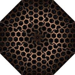 Hexagon2 Black Marble & Bronze Metal Hook Handle Umbrella (large) by trendistuff