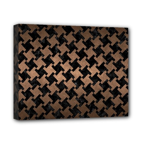Houndstooth2 Black Marble & Bronze Metal Canvas 10  X 8  (stretched) by trendistuff