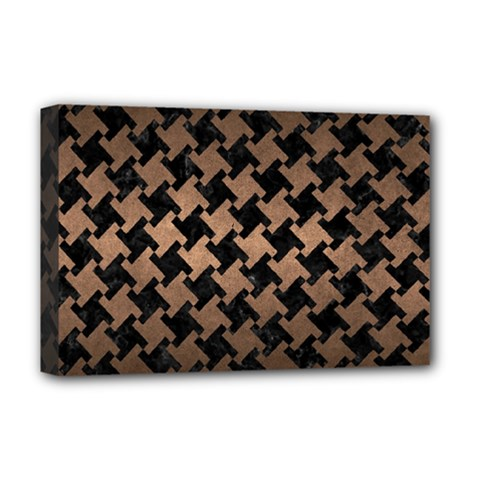 Houndstooth2 Black Marble & Bronze Metal Deluxe Canvas 18  X 12  (stretched) by trendistuff