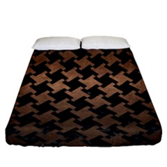 Houndstooth2 Black Marble & Bronze Metal Fitted Sheet (queen Size) by trendistuff