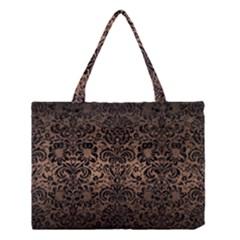 Damask2 Black Marble & Bronze Metal (r) Medium Tote Bag by trendistuff