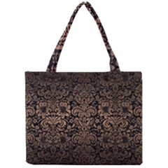 Damask2 Black Marble & Bronze Metal Mini Tote Bag by trendistuff