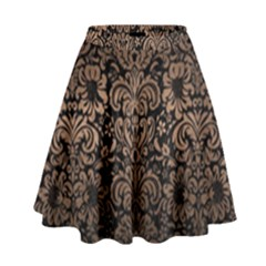 Damask2 Black Marble & Bronze Metal High Waist Skirt by trendistuff