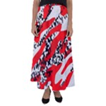 Red HOt Camo Flared Maxi Skirt