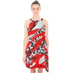 Red HOt Camo Halter Collar Waist Tie Chiffon Dress