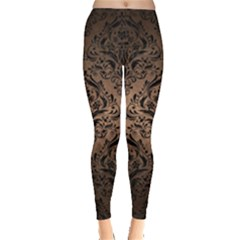 Damask1 Black Marble & Bronze Metal (r) Leggings  by trendistuff