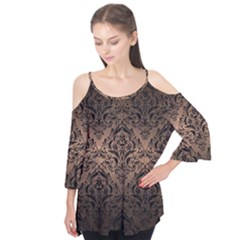 Damask1 Black Marble & Bronze Metal (r) Flutter Sleeve Tee