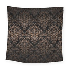 Damask1 Black Marble & Bronze Metal Square Tapestry (large) by trendistuff