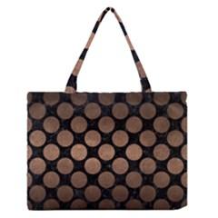 Circles2 Black Marble & Bronze Metal Medium Zipper Tote Bag by trendistuff