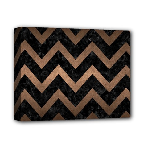 Chevron9 Black Marble & Bronze Metal Deluxe Canvas 14  X 11  (stretched) by trendistuff