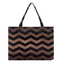 Chevron3 Black Marble & Bronze Metal Medium Tote Bag by trendistuff