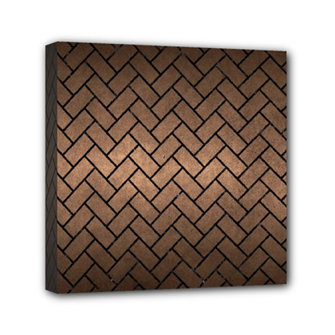 Brick2 Black Marble & Bronze Metal (r) Mini Canvas 6  X 6  (stretched) by trendistuff