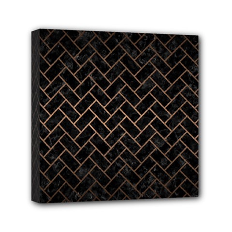 Brick2 Black Marble & Bronze Metal Mini Canvas 6  X 6  (stretched) by trendistuff