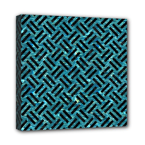 Woven2 Black Marble & Blue Green Water (r) Mini Canvas 8  X 8  (stretched) by trendistuff